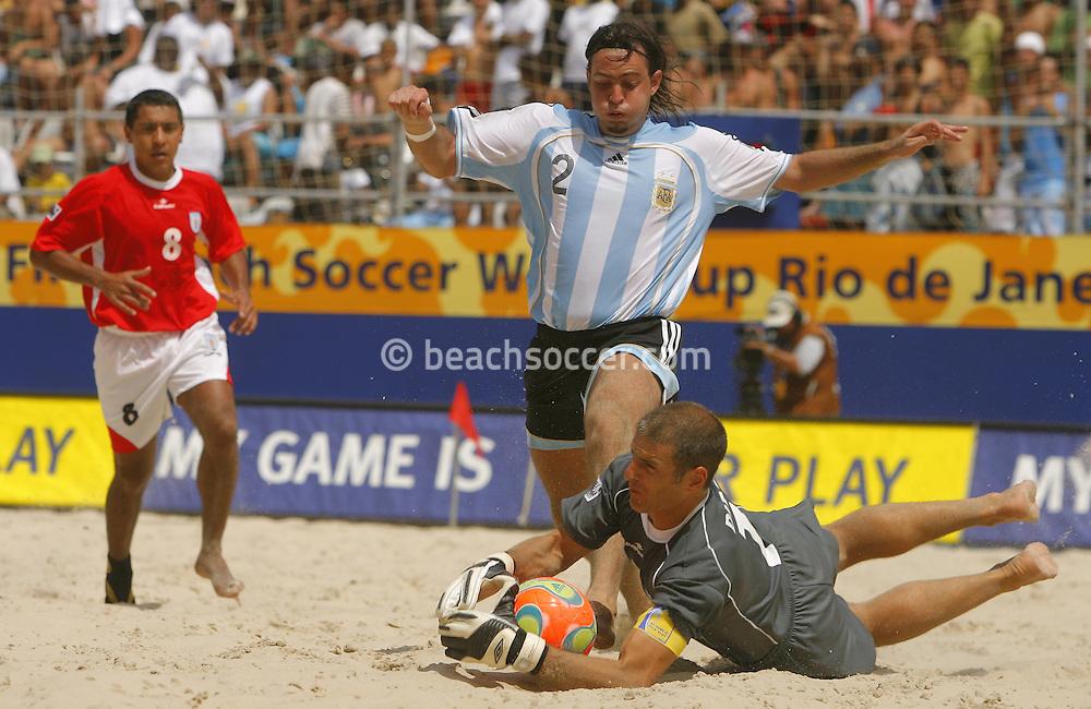 Football-FIFA Beach Soccer World Cup 2006 - Quarter Finals, Argentina - Uruguay, Beachsoccer World Cup 2006. Uruguay's Diego and Argentina's Hilaire - Rio de Janeiro - Brazil 09/11/2006. Mandatory credit: FIFA/ Manuel Queimadelos