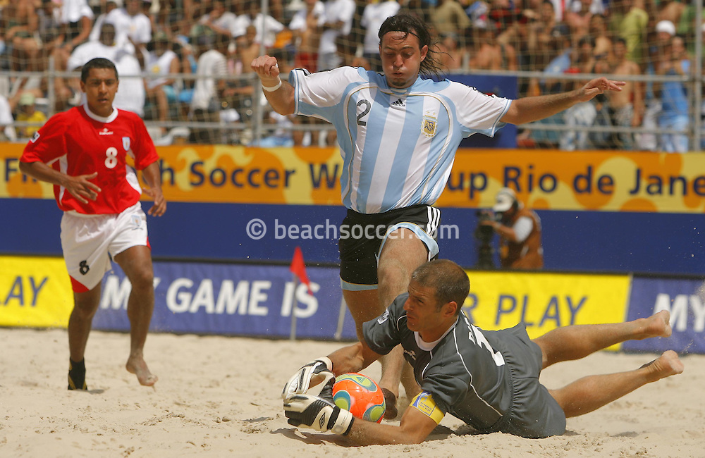 Football-FIFA Beach Soccer World Cup 2006 - Quarter Finals, Argentina - Uruguay, Beachsoccer World Cup 2006. Uruguay's Diego and Argentina's Hilaire - Rio de Janeiro - Brazil 09/11/2006. Mandatory credit: FIFA/ Manuel Queimadelos