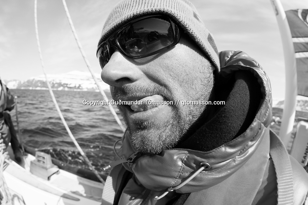 Petri Kurki onboard the sailboat Aurora, Iceland.<br /> <br /> Images from an ski touring adventure to J&ouml;kulfir&eth;ir, a series of fjords in west Iceland, with Bergmenn Mountain Guides and Borea Adventures. The tour takes skiers from fjord to fjord with the sail boat Aurora as a overnight base.
