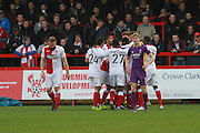 Kyle Howkins celebrates his goal during the Vanarama National League match between Kidderminster Harriers and Cheltenham Town at Aggborough, Kidderminster, United Kingdom on 26 December 2015. Photo by Antony Thompson.