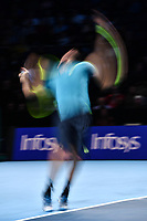 Tennis - 2019 Nitto ATP Finals at The O2 - Day Five<br /> <br /> Singles Group Bjorn Borg: Dominic Thiem (Austria) vs. Matteo Berrettini (Italy)<br /> <br /> Matteo Berrettini in action during his 2 set defeat of Dominic Thiem, 7-6, 6-3<br /> <br /> COLORSPORT/ASHLEY WESTERN