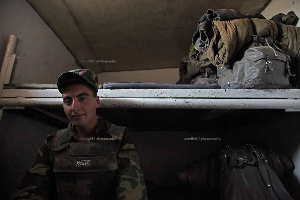 Inside a shelter of the karabakh army near Adgam frontline next to the aserbaijani positions. Since the cesasefire agreement from 1994 armenian and aseri forces have made the border area around the unrecognized Repblice Nagorno Karabakh to a warren of trenches. Shootings between both army taken place regularly.