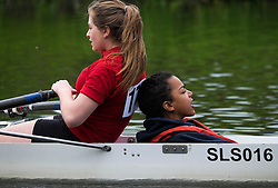 © Licensed to London News Pictures.13/06/15<br /> Durham, England<br /> <br /> A rowing boat heads towards the finish line during the 182nd Durham Regatta rowing event held on the River Wear. The origins of the regatta date back  to commemorations marking victory at the Battle of Waterloo in 1815. This is the second oldest event of this type in the country and attracts over 2000 competitors from across the country.<br /> <br /> Photo credit : Ian Forsyth/LNP
