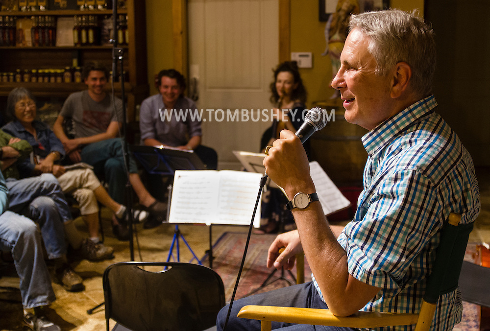 Bethel, New York -The Weekend of Chamber Music held a Music Talks program at the Catskill Distilling Company with composer John Corigliano on July 23, 2015. The evening Nurit Pacht and Andrew Waggoner on violins, Carloline Stinson on cello and Lois Martin on viola playing Corigliano's compositions.