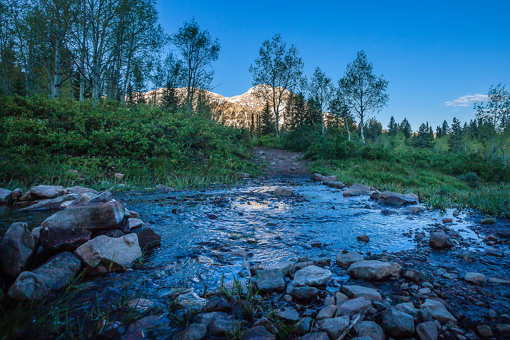 Stream and Mt. Timpanogos near Alpine Loop in Utah