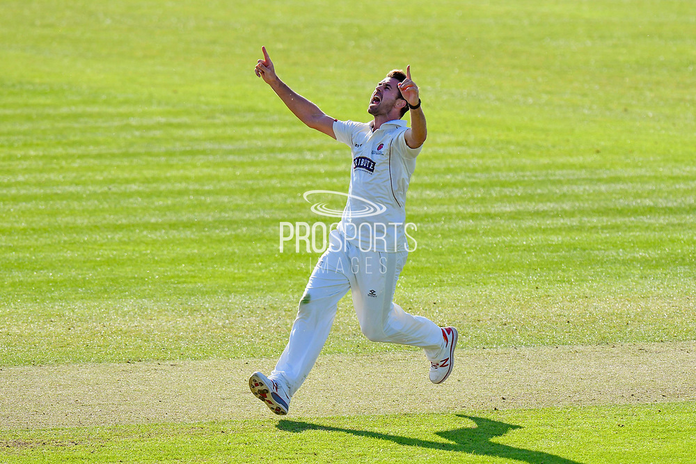 Wicket - Tim Groenewald of Somerset celebrates taking the wicket of Ben Cox of Worcestershire during the Specsavers County Champ Div 1 match between Somerset County Cricket Club and Worcestershire County Cricket Club at the Cooper Associates County Ground, Taunton, United Kingdom on 20 April 2018. Picture by Graham Hunt.