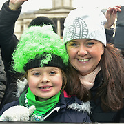 London, UK. 18th March 2018. Thousands attend to watch the parade of the London's St Patrick's Day 2018 parade from Green Park to Trafalgar Square on 19th March 2017.