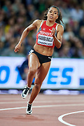 Great Britain, London - 2017 August 10: Mujinga Kambundji from Switzerland competes in women&rsquo;s 200 meters qualification during IAAF World Championships London 2017 Day 7 at London Stadium on August 10, 2017 in London, Great Britain.<br /> <br /> Mandatory credit:<br /> Photo by &copy; Adam Nurkiewicz<br /> <br /> Adam Nurkiewicz declares that he has no rights to the image of people at the photographs of his authorship.<br /> <br /> Picture also available in RAW (NEF) or TIFF format on special request.<br /> <br /> Any editorial, commercial or promotional use requires written permission from the author of image.