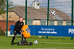 NEWPORT, WALES - Tuesday, November 6, 2018: Wales' goalkeeper coach Jon Horton uses a ball launcher during a training session at Dragon Park ahead of two games against Portugal. (Pic by Paul Greenwood/Propaganda)