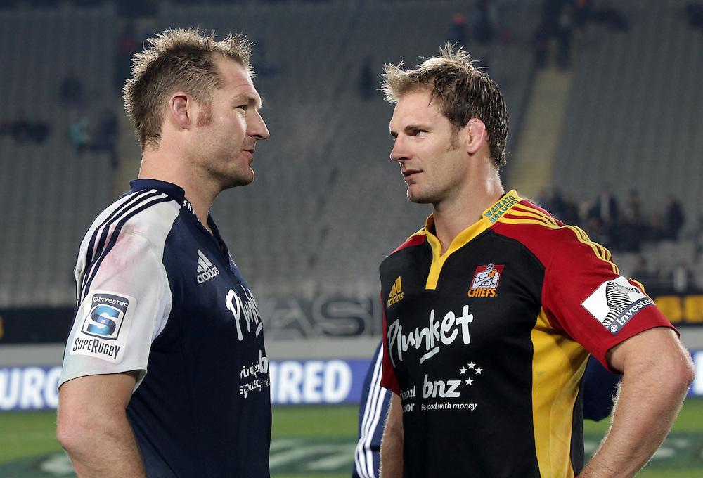 Blues' Captain Ali Williams chats with Chiefs' Captain Craig Clarke after their Super Rugby match, Eden Park, Auckland, New Zealand, Saturday, July 13, 2013.  Credit:SNPA / David Rowland