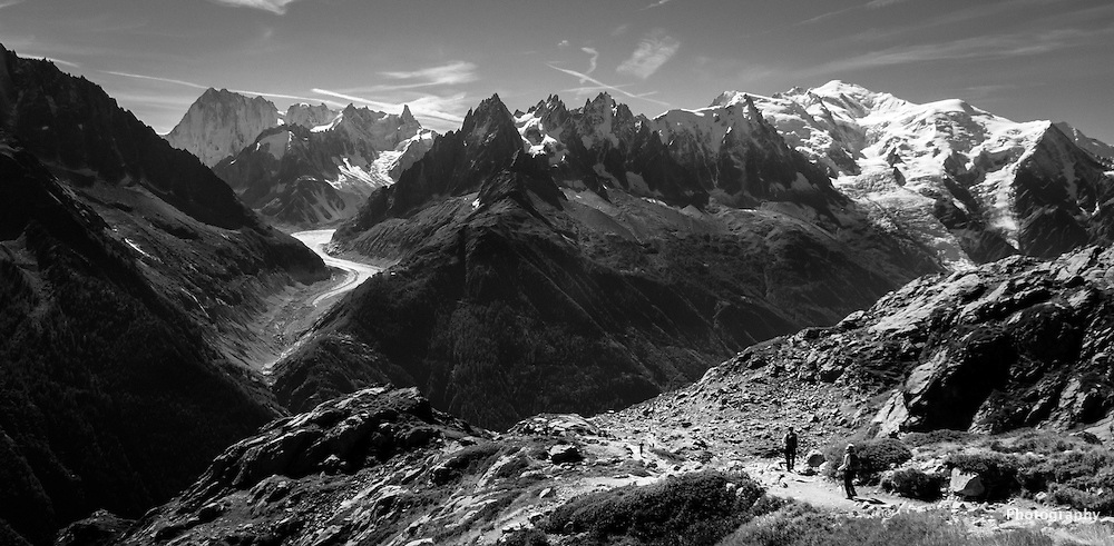 Views of the Aiguilles de Chamonix & Mont Blanc from the Chamonix Lac Blanc walking trail.