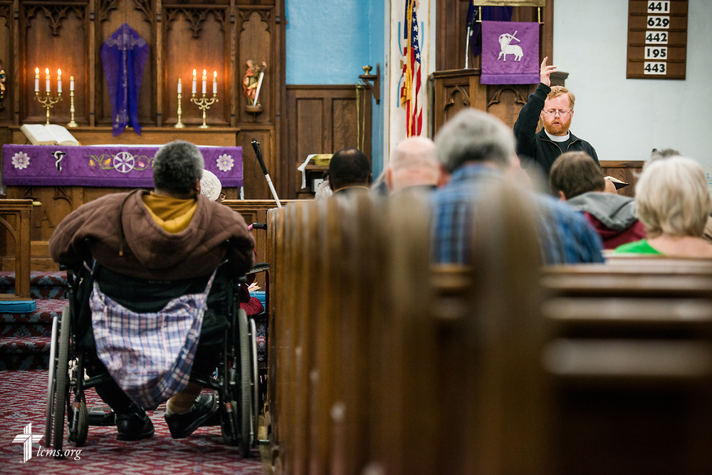 The Rev. Roy Axel Coats, pastor at Lutheran Church of the Redeemer, Baltimore, leads worship at St. Thomas Lutheran Church, Baltimore, on Saturday, March 24, 2018.  LCMS Communications/Erik M. Lunsford