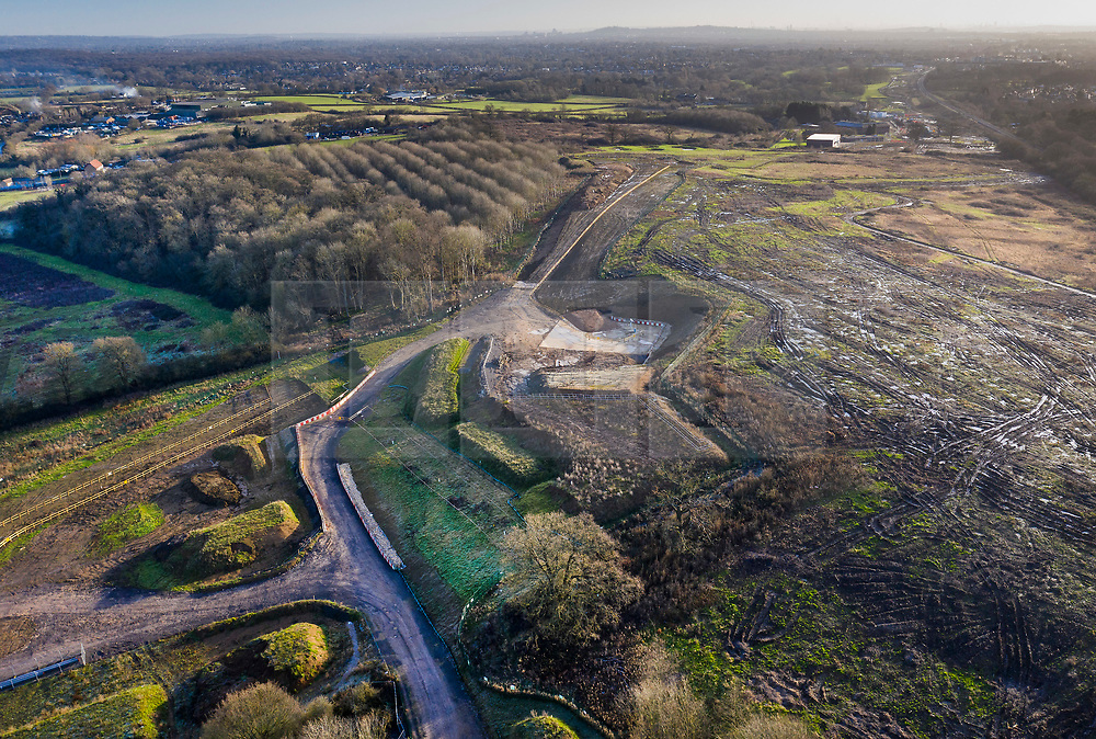 VIDEO AVAILABLE : https://we.tl/t-SQVmqbvcNl © Licensed to London News Pictures. 29/01/2020. London, UK. The route of the High Speed Two (HS2) rail line can be seen to the south of Newyears Green Covert (L), a woodland area in the London Borough of Hillingdon.  A government decision is expected soon on whether the HS2 rail project will fully go ahead with some budget estimates showing a cost of £70-£80bn. Photo credit: Peter Macdiarmid/LNP