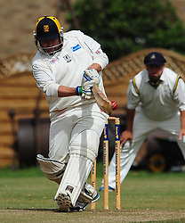 FINEDONS BATSMAN  WILL DALIMORE HITS OUT AT WELLINGBOROUGH, Wellingborough Town CC v Finedon 3rds CC, Redwell Road Ground,  Saturday 20th August 2016<br /> Photo:Mike Capps