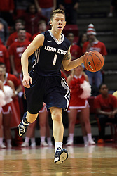 16 November 2014:  Viko Noma'aea during an NCAA non-conference game between the Utah State Aggies and the Illinois State Redbirds.  The Aggies win the competition 60-55 at Redbird Arena in Normal Illinois.