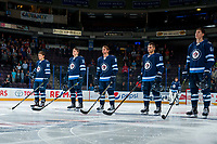 PENTICTON, CANADA - SEPTEMBER 9: Kody McDonald #92, Leon Gawanke #70, Kristian Reichel #90, Cristiano DaGiacinto #87 and Logan Stanley #64 of Winnipeg Jets line up against the Edmonton Oilers on September 9, 2017 at the South Okanagan Event Centre in Penticton, British Columbia, Canada.  (Photo by Marissa Baecker/Shoot the Breeze)  *** Local Caption ***
