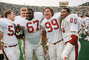 COLLEGE FOOTBALL:  Stanford vs Cal in the annual Big Game on November 17, 1984 at Memorial Stadium in Berkeley, California.  Garin Veris #80, Terry Jackson #67.  Photography by David Madison (www.davidmadison.com).