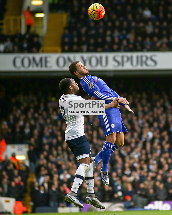Eden Hazard jumps for the ball with  Danny Rose During Tottenham Hotspur vs Chelsea on Sunday the 29th November 2015.