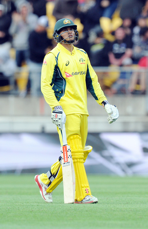 Australia's Usman Khawaja out for 50, caught bowled by New Zealand's Mitchell Santner in the 2nd One Day International Cricket match at Westpac Stadium, Wellington, New Zealand, Saturday, February 06, 2016. Credit:SNPA / Ross Setford