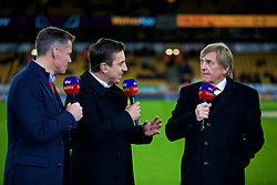 WOLVERHAMPTON, ENGLAND - Friday, December 21, 2018: Former Liverpool player Jamie Carragher and former Manchester United player Gary Neville working for Sky Sports interview Liverpool's non-executive director Kenny Dalglish before the FA Premier League match between Wolverhampton Wanderers FC and Liverpool FC at Molineux Stadium. (Pic by David Rawcliffe/Propaganda)
