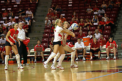 06 October 2007:  Kasey Mollerus beats Mallory Leggett to the dig. The Illinois State Redbirds pulled out a photo finish in a match that saw the 4th and 5th games extend into extra point play. Northern Iowa Panthers visited the Illinois State Redbirds at Redbird Arena on the campus of Illinois State University in Normal Illinois.