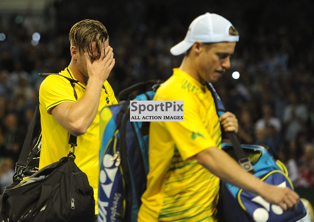 Despair for Sam Groth and Lleyton Hewitt as they lose the doubles rubber between Great Britain v Australia, Semi Finals,  Aegeon Davis Cup by BNP Paribas, Saturday 19 September 2015 (c) Angie Isac | SportPix.org.uk
