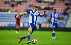 WIGAN, ENGLAND - Friday, July 14, 2017: Liverpool's Sam Stubbs in action against Wigan Athletic during a preseason friendly match at the DW Stadium. (Pic by David Rawcliffe/Propaganda)