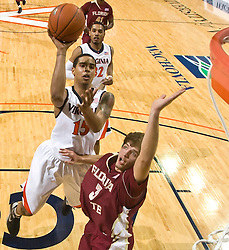Virginia guard Sylven Landesberg (15) shoots over Florida State guard Luke Loucks (3).  The Virginia Cavaliers fell to the Florida State Seminoles 73-62 in NCAA Basketball at the John Paul Jones Arena on the Grounds of the University of Virginia in Charlottesville, VA on January 24, 2009.