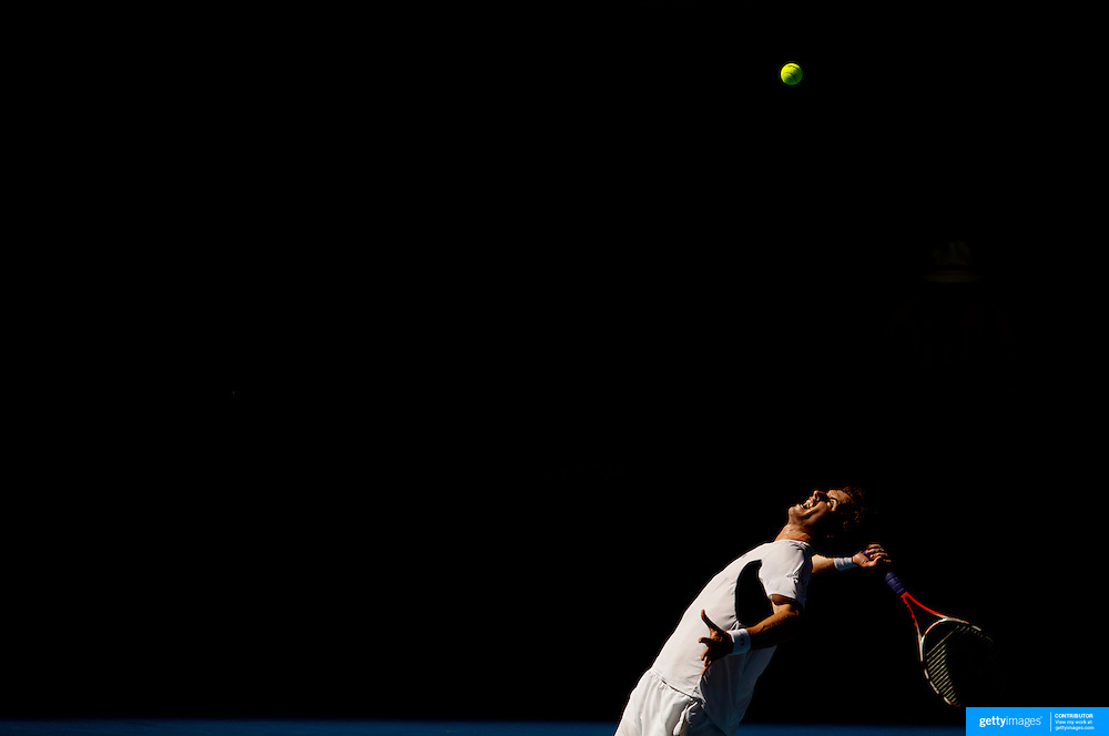 Andy Murray of Great Britain in action against fernando Verdasco of Spain at the Australian Tennis Open on January 26, 2009 in Melbourne, Australia. Photo Tim Clayton    .