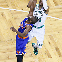 03 May 2013: Boston Celtics small forward Paul Pierce (34) takes a jumpshot over New York Knicks point guard Raymond Felton (2) during the New York Knicks 88-80 victory over the Boston Celtics during Game Six of the Eastern Conference Quarterfinals of the 2013 NBA Playoffs at the TD Garden, Boston, Massachusetts, USA.
