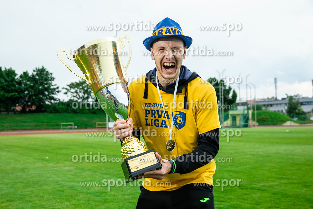 Nejc Filipcic during celebration of NK Bravo, winning team in 2nd Slovenian Football League in season 2018/19 after they qualified to Prva Liga, on May 26th, 2019, in Stadium ZAK, Ljubljana, Slovenia. Photo by Vid Ponikvar / Sportida