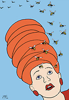 Humor.  A woman with a beehive hairstyle has a swarm of bees around her head.