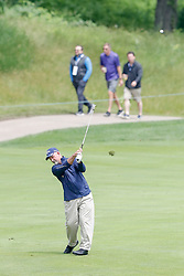 June 22, 2018 - Madison, WI, U.S. - MADISON, WI - JUNE 22: Marco Dawson hits his second shot on the eighteenth hole during the American Family Insurance Championship Champions Tour golf tournament on June 22, 2018 at University Ridge Golf Course in Madison, WI. (Photo by Lawrence Iles/Icon Sportswire) (Credit Image: © Lawrence Iles/Icon SMI via ZUMA Press)