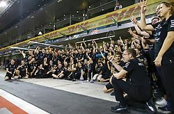 November 26, 2017 - Abu Dhabi, United Arab Emirates - Motorsports: FIA Formula One World Championship 2017, Grand Prix of Abu Dhabi, . Mercedes AMG Petronas F1 Team celebrates World Championship, Toto Wolff (AUT, Mercedes AMG Petronas Formula One Team), #77 Valtteri Bottas (FIN, Mercedes AMG Petronas F1 Team), #44 Lewis Hamilton (GBR, Mercedes AMG Petronas F1 Team) (Credit Image: © Hoch Zwei via ZUMA Wire)