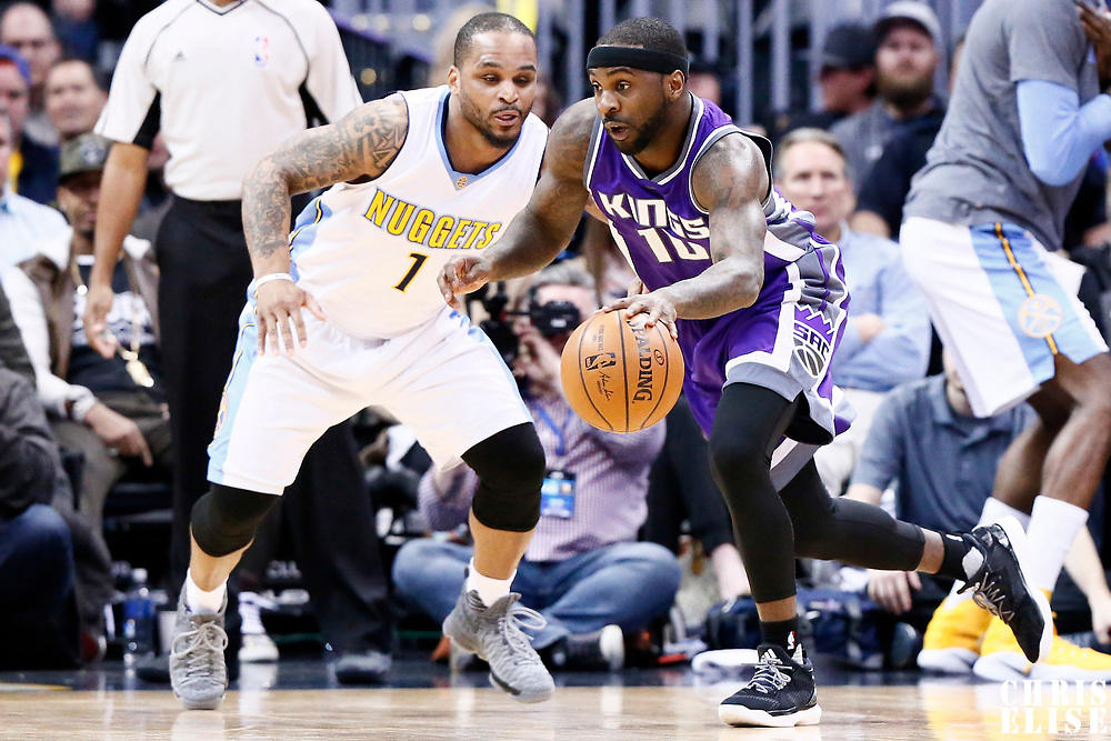 06 March 2017: Sacramento Kings guard Ty Lawson (10) drives psst Denver Nuggets guard Jameer Nelson (1) during the Denver Nuggets 108-96 victory over the Sacramento Kings, at the Pepsi Center, Denver, Colorado, USA.