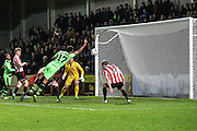 Forest Green Rovers Kurtis Guthrie puts the ball into the net but is adjudged to have used his hand during the Vanarama National League match between Cheltenham Town and Forest Green Rovers at Whaddon Road, Cheltenham, England on 21 November 2015. Photo by Shane Healey.