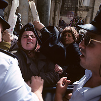 Israel, Jerusalem, Police try to control pushing crowd outside Church of the Holy Sepulcher on Easter morning