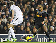 Picture by David Horn/Focus Images Ltd +44 7545 970036.28/11/2012.Jan Vertonghen of Tottenham Hotspur and Glen Johnson of Liverpool during the Barclays Premier League match at White Hart Lane, London.
