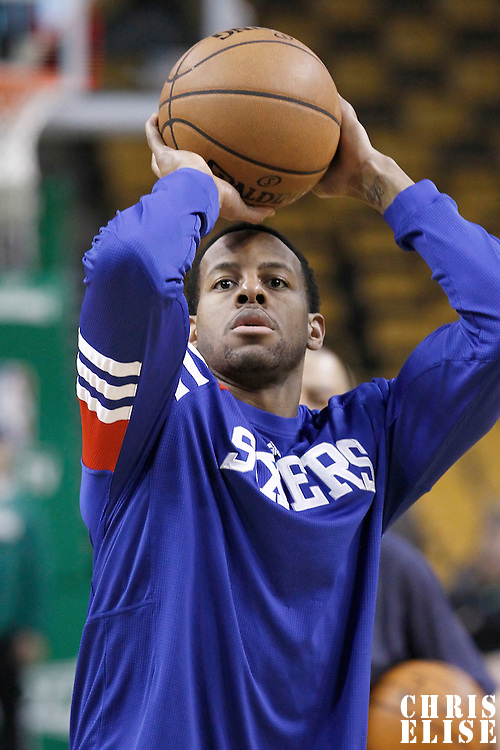 21 May 2012: Philadelphia Sixers small forward Andre Iguodala (9) warms up prior to the Boston Celtics 101-85 victory over the Philadelphia Sixer, in Game 5 of the Eastern Conference semifinals playoff series, at the TD Banknorth Garden, Boston, Massachusetts, USA.