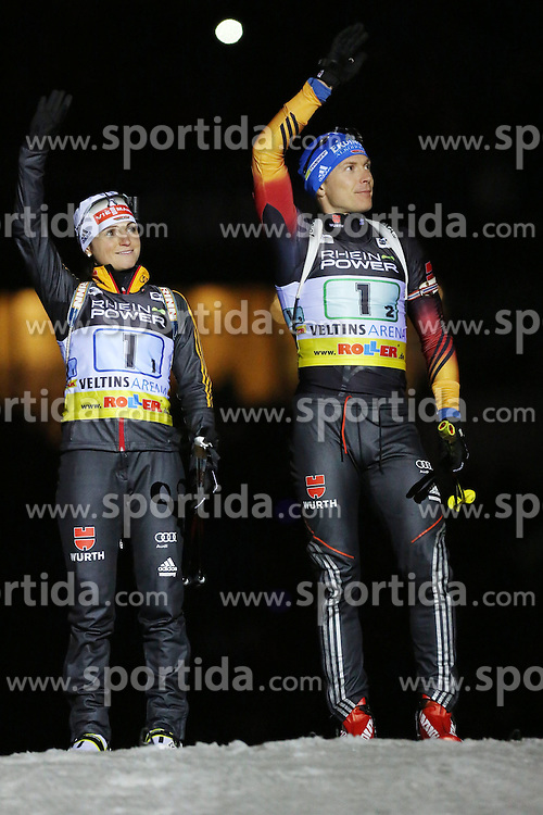 28.12.2013, Veltins Arena, Gelsenkirchen, GER, IBU Biathlon, Biathlon World Team Challenge 2013, im Bild Andrea Henkel (Deutschland / Germany), Andreas Brinbacher (Deutschland / Germany) bei der Vorstellung der Athleten // during the IBU Biathlon World Team Challenge 2013 at the Veltins Arena in Gelsenkirchen, Germany on 2013/12/28. EXPA Pictures &copy; 2013, PhotoCredit: EXPA/ Eibner-Pressefoto/ Schueler<br /> <br /> *****ATTENTION - OUT of GER*****