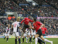 Photo: Lee Earle.<br /> West Bromwich Albion v Manchester United. The Barclays Premiership. 18/03/2006. United's Luis Saha (3rdL) jumps to head home their opening goal.