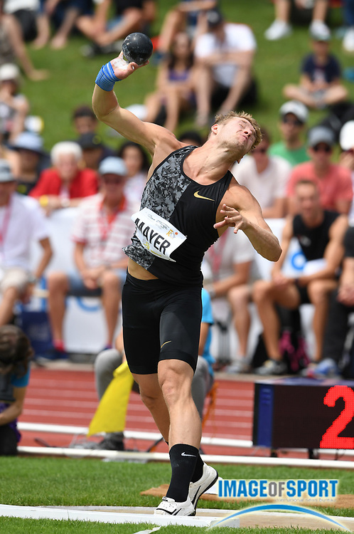 Kevin Mayer (FRA) throws 51-0 3/4 (15.56m) in the shot put during the decathlon at the DecaStar meeting, Saturday, June 23, 2019, in Talence, France. (Jiro Mochizuki/Image of Sport)