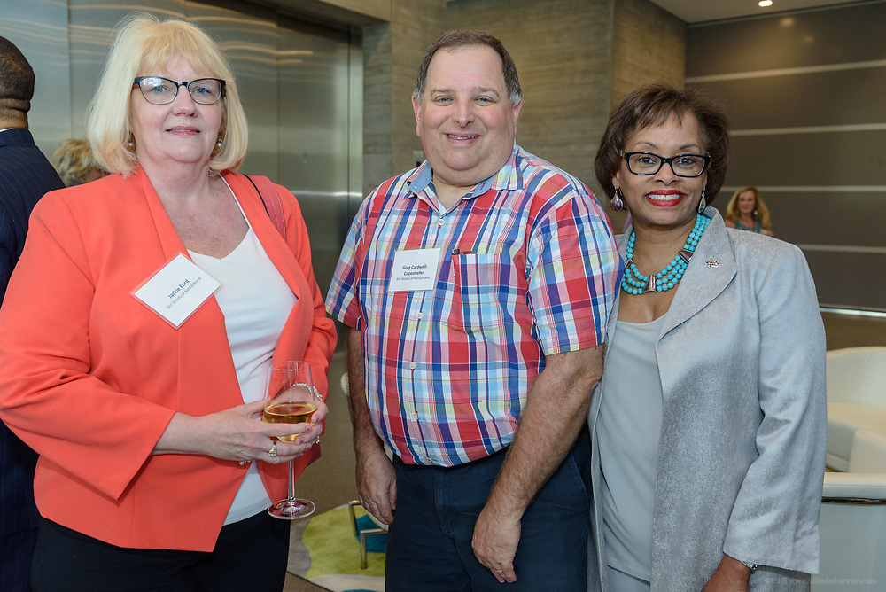 Jackie Ford, Greg Cardwell-Copenhefer and Carolle Jones Clay at the 10-year anniversary celebration of Republic Bank's Private Banking and Business Banking divisions Wednesday, May 17, 2017, at the Speed Art Museum in Louisville, Ky. (Photo by Brian Bohannon)