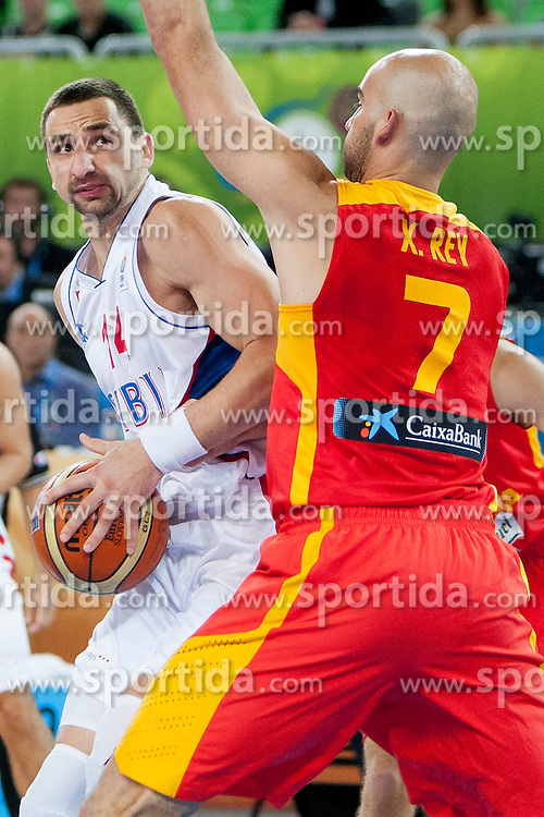 Rasko Katic #14 of Serbia vs Xavier Rey #7 of Spain during basketball match between National teams of Serbia and Spain in Quarterfinal at Day 15 of Eurobasket 2013 on September 18, 2013 in SRC Stozice, Ljubljana, Slovenia. (Photo By Urban Urbanc / Sportida)