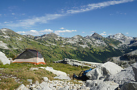 Tent in backcountry camp, upper Marriott Basin, Coast Mountains British Columbia