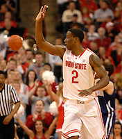 Jordan Sibert #2 of the Ohio State Buckeyes celebrates after making a three point basket during the first half of an NCAA college basketball game on Dec. 28, 2011 at Value City Arena in Columbus, Ohio.