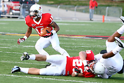 20 October 2012:  Phil Dudley steers clear of a pile up during an NCAA Missouri Valley Football Conference football game between the Missouri State Bears and the Illinois State Redbirds at Hancock Stadium in Normal IL