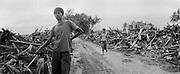 Zwischen Banda Aceh und Lamteungoh in der vom Tsunami zerstoerten Umgebung wurden die Truemmer aus der Stadt am Strassenrand aufgehaeuft. Jugendliche wie Muhammed ADI 17, und sein Freund Fahni 13, suchen im Schutt nach verwertbaren Gegenstaenden.<br /> <br /> Murat Tueremis<br /> Germany.<br /> +49-171-5437080.<br /> email: murattueremis@t-online.de