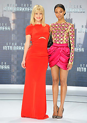 Alice Eve and Zoe Saldana during the premiere for the movie Star Trek Into Darkness, China Club, Berlin, Germany, on April 29, 2013, April 30, 2013. Photo by: Schneider-Press / i-Images. .UK & USA ONLY.
