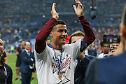 Portugal Forward Cristiano Ronaldo applauds the fans during the Euro 2016 final between Portugal and France at Stade de France, Saint-Denis, Paris, France on 10 July 2016. Photo by Phil Duncan.